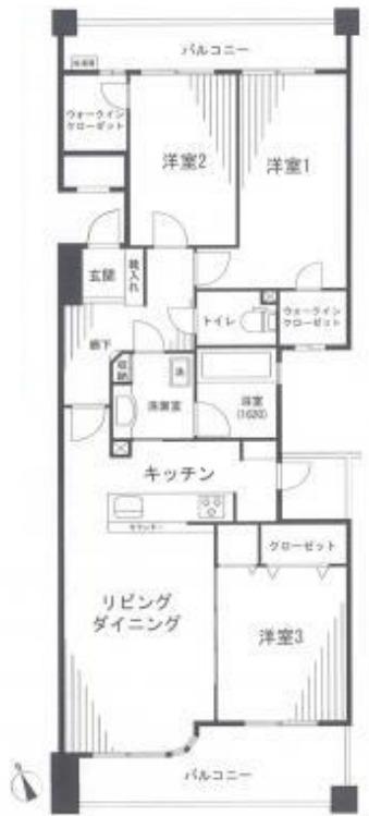 間取図/区画図:最上階南向き!広々バルコニー!